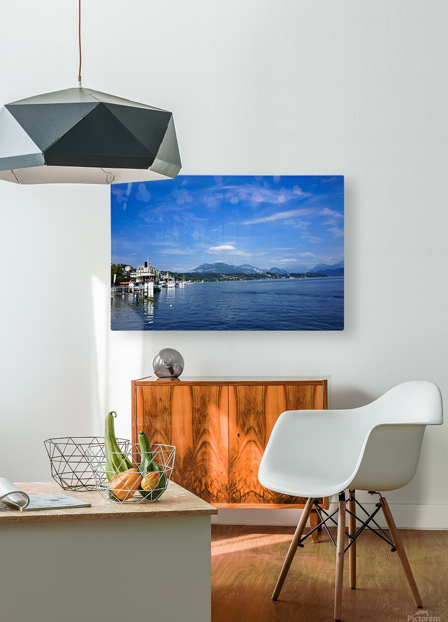 On the Shores of Lake Lucerne  HD Metal print with Floating Frame on Back