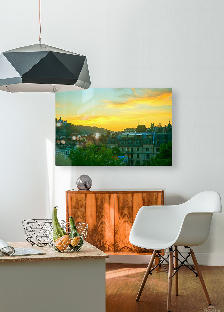 Sunset over Lucerne Switzerland  HD Metal print with Floating Frame on Back
