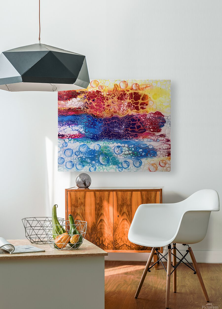 Rainbow Lizard Abstract  HD Metal print with Floating Frame on Back