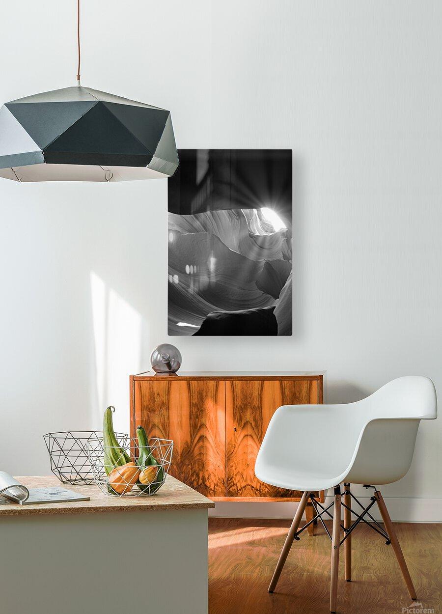 Light Cavern  Impression métal HD avec cadre flottant sur le dos