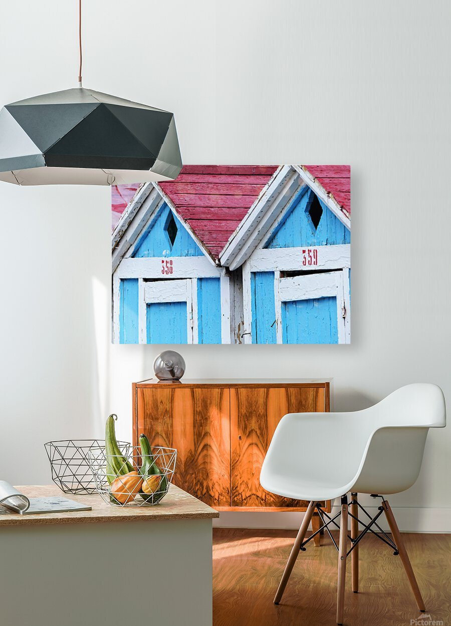 Beach cabin  HD Metal print with Floating Frame on Back