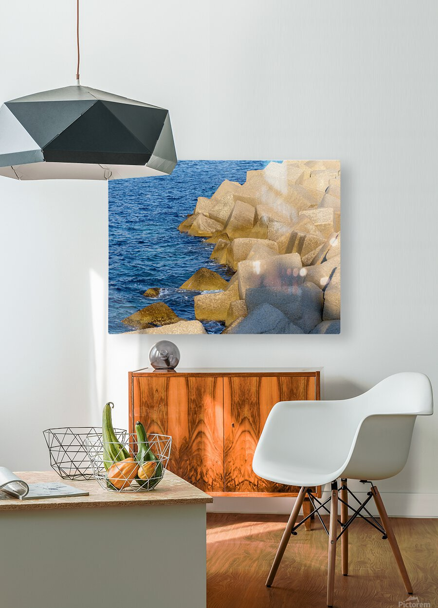 Cubes on the sea  HD Metal print with Floating Frame on Back