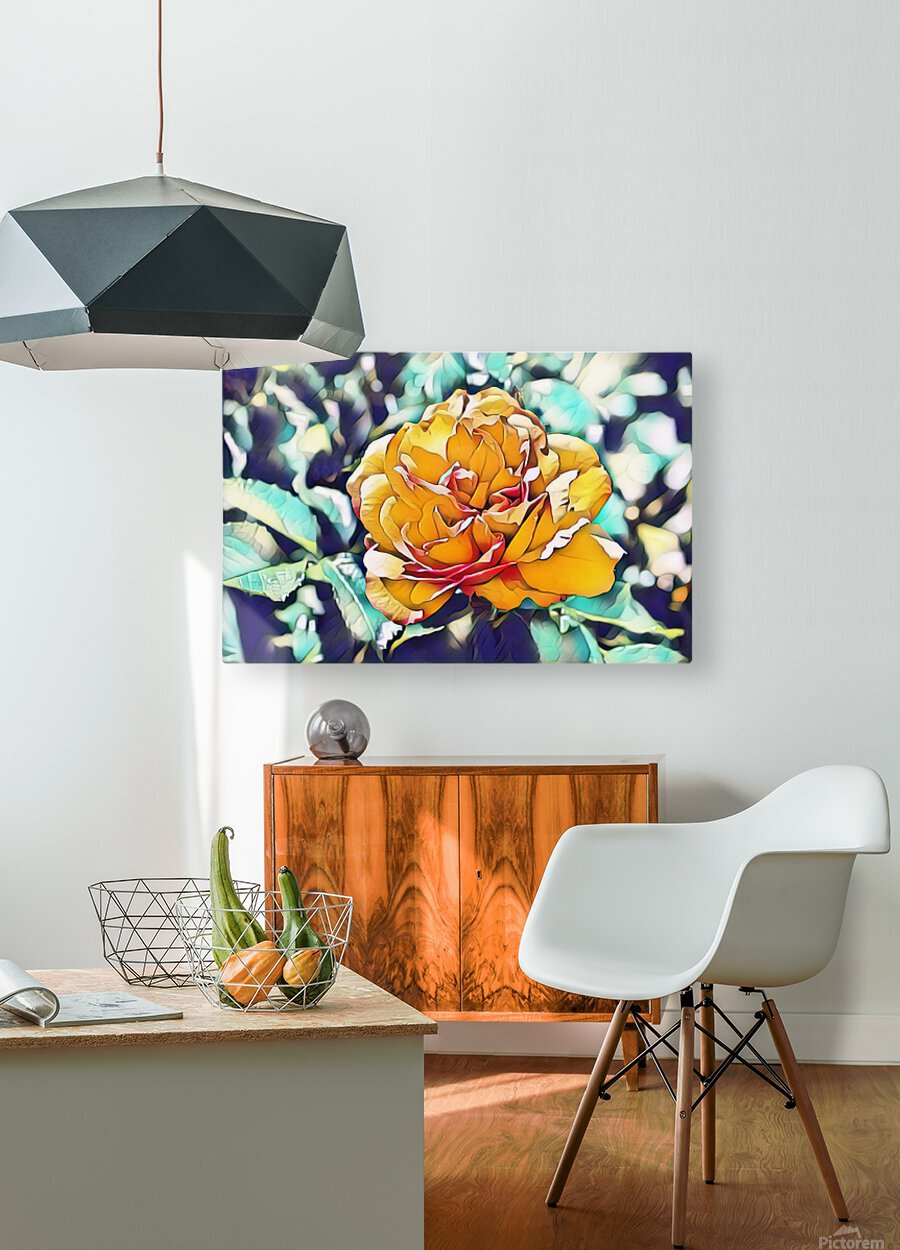 Rose in Yellow  HD Metal print with Floating Frame on Back