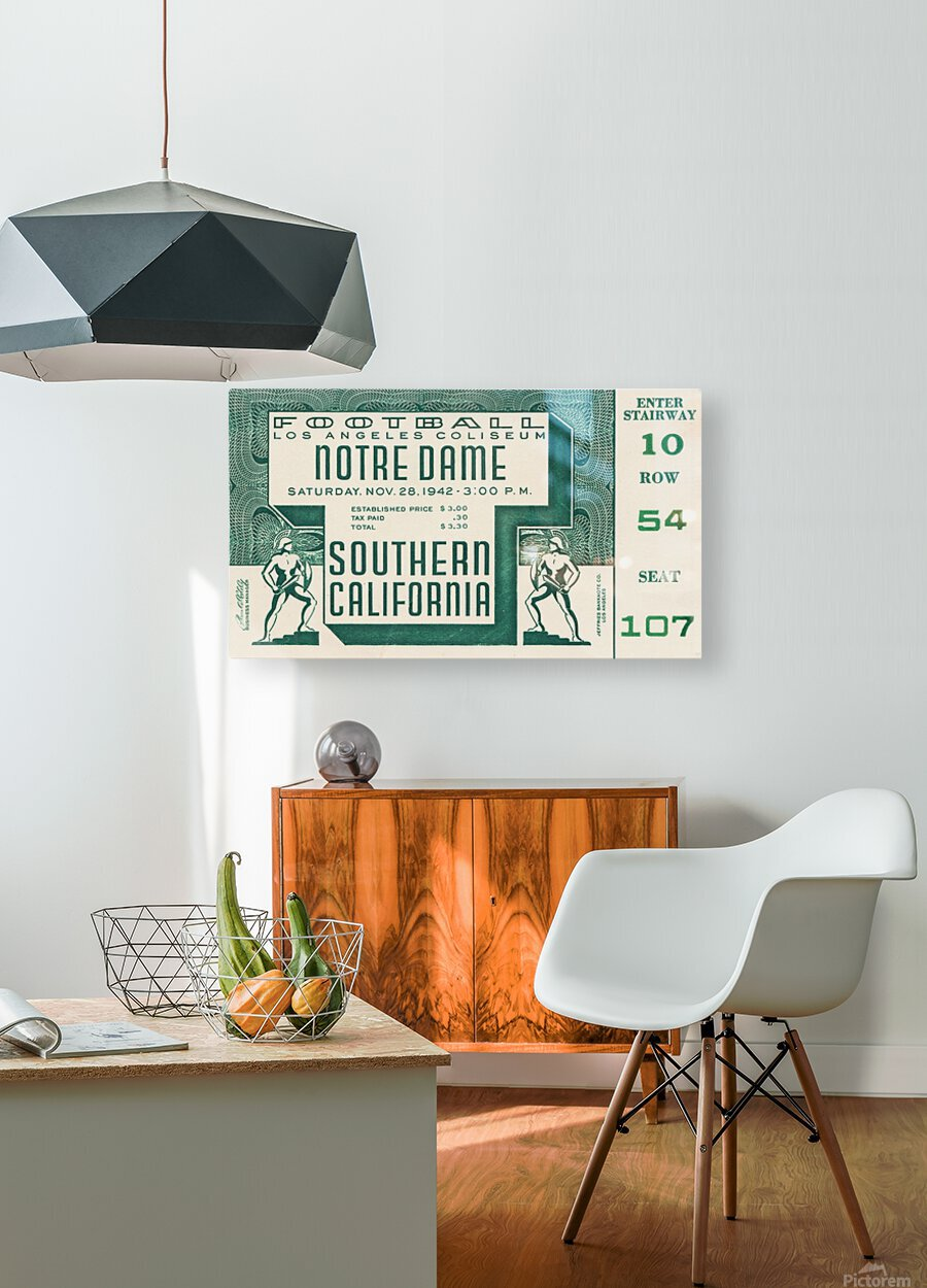 1942 USC vs. Notre Dame Football Ticket Canvas  HD Metal print with Floating Frame on Back