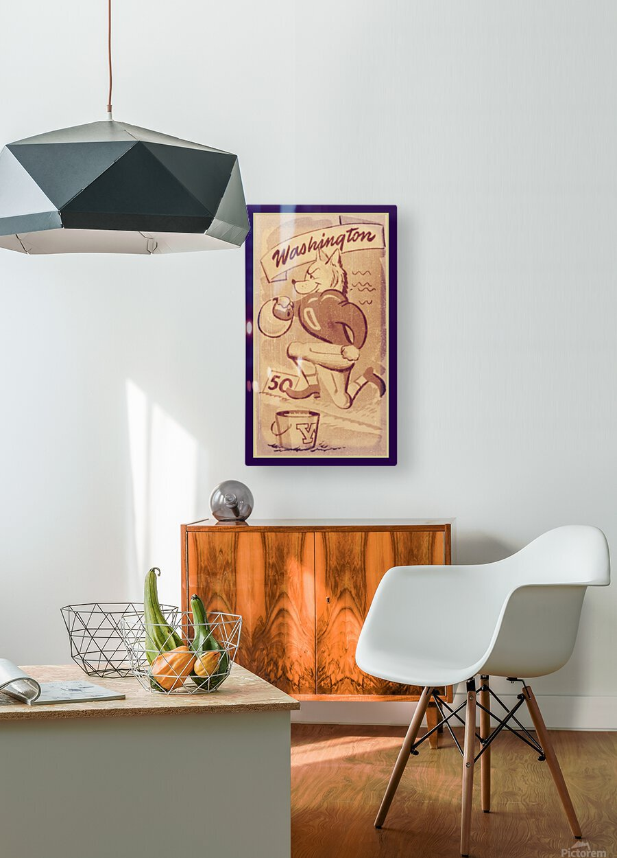 Vintage Washington Husky Football Cartoon  HD Metal print with Floating Frame on Back