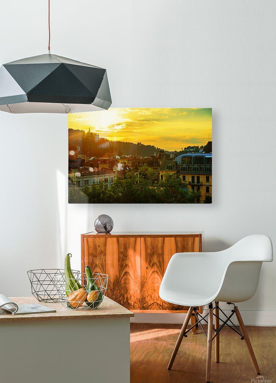 Summer Sunset over Lucerne Switzerland  HD Metal print with Floating Frame on Back