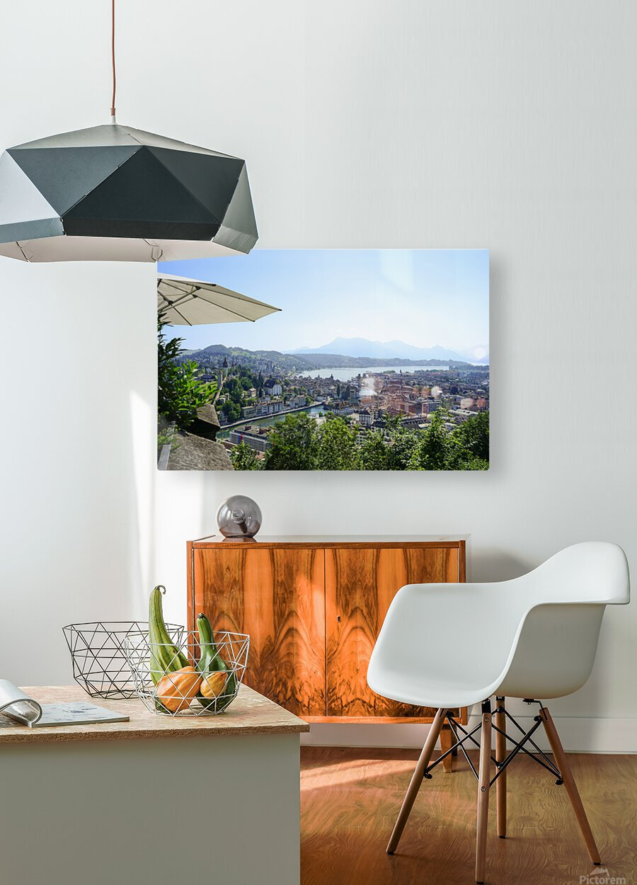 Stunning View to Lake Lucerne in the Central Swiss Alps  HD Metal print with Floating Frame on Back