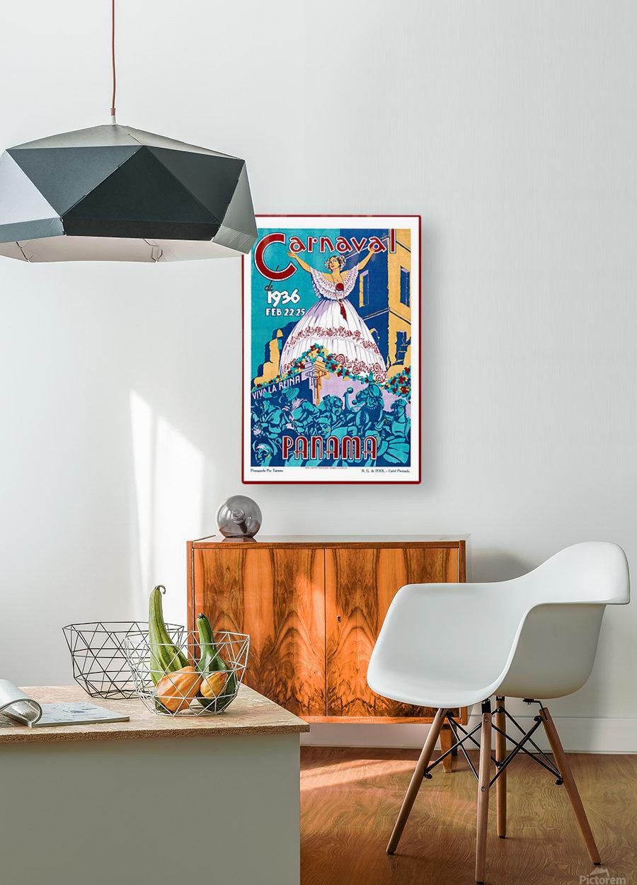 Carnaval de 1936 Panama Vintage Travel Poster  HD Metal print with Floating Frame on Back