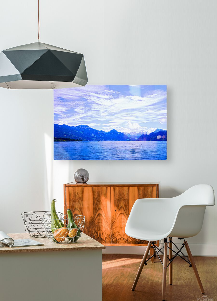 Beautiful Day The Alps and Lake Lucerne 1 of 2  HD Metal print with Floating Frame on Back