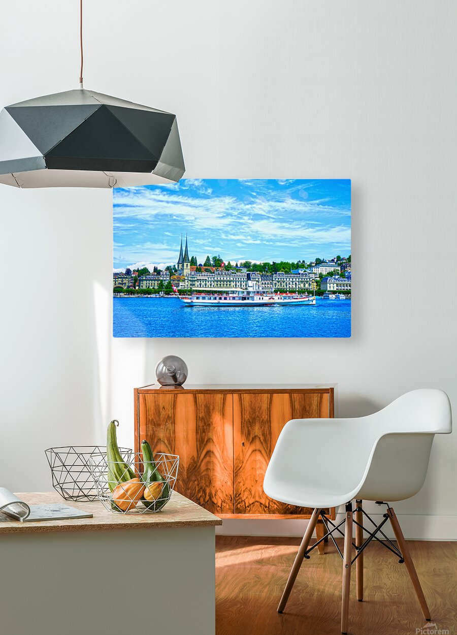 Old Town along the Coast in Lucerne Switzerland  HD Metal print with Floating Frame on Back