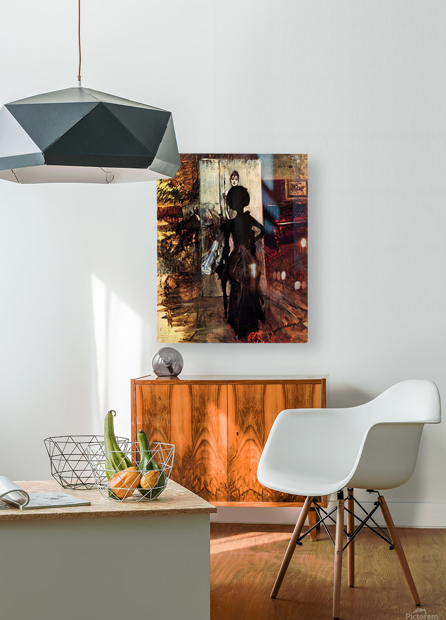 Woman in front of the painting White pastel picture by Giovanni Boldini  HD Metal print with Floating Frame on Back