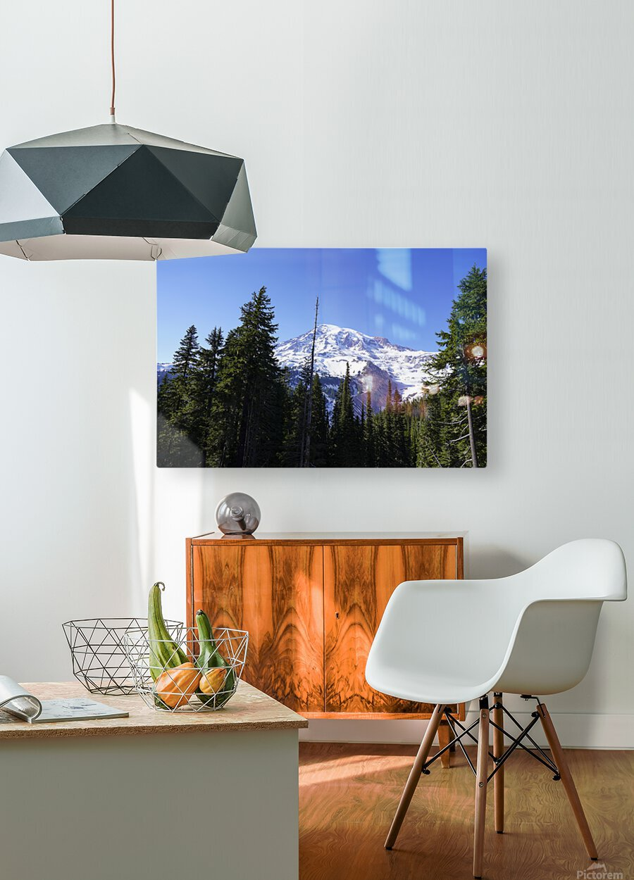 Mount Rainier Pacific Northwest Washington State  HD Metal print with Floating Frame on Back