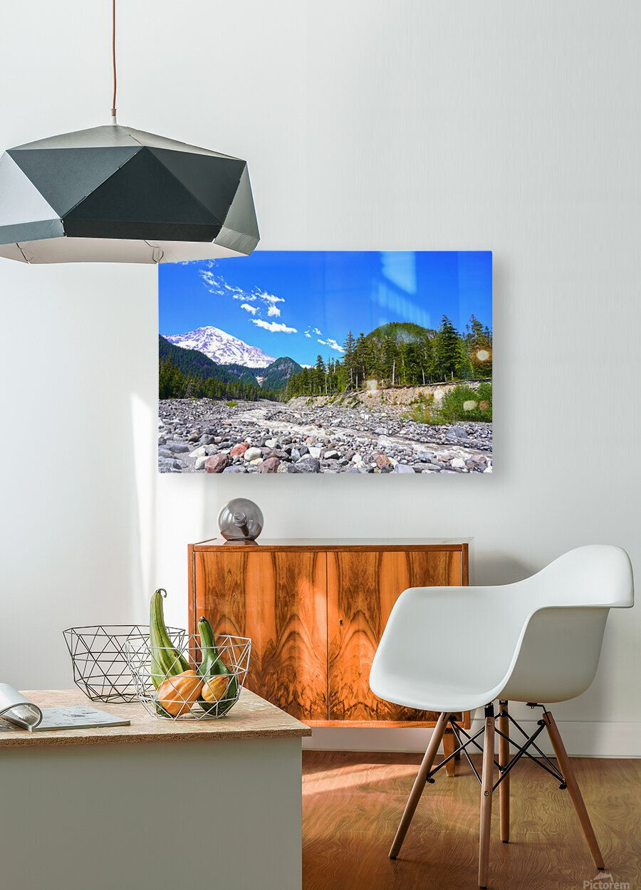 Spring Runoff Mount Rainier Pacific Northwest Washington State  HD Metal print with Floating Frame on Back