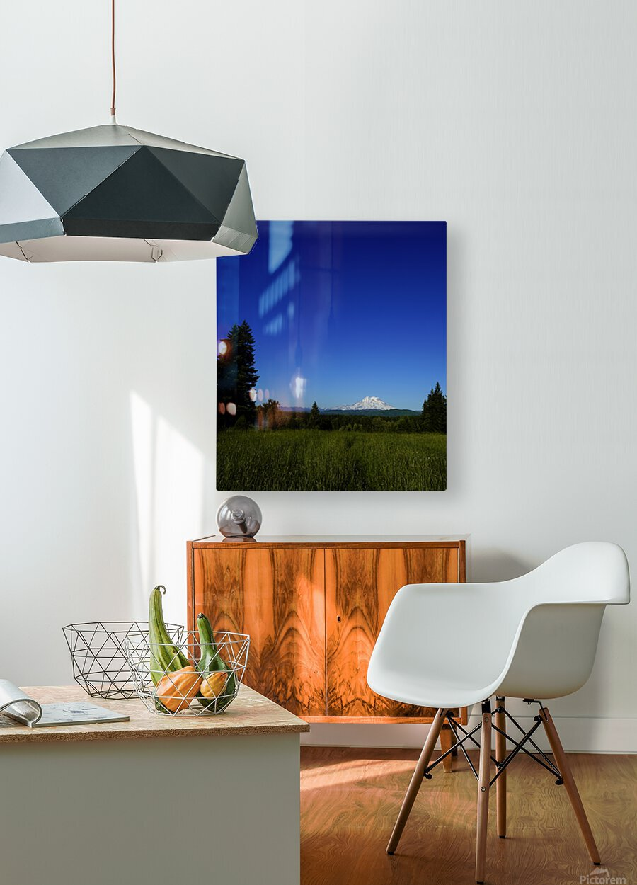 Mount Rainier at Sunset Pacific Northwest Washington State  HD Metal print with Floating Frame on Back