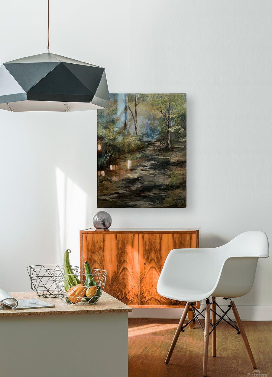Park walk  HD Metal print with Floating Frame on Back