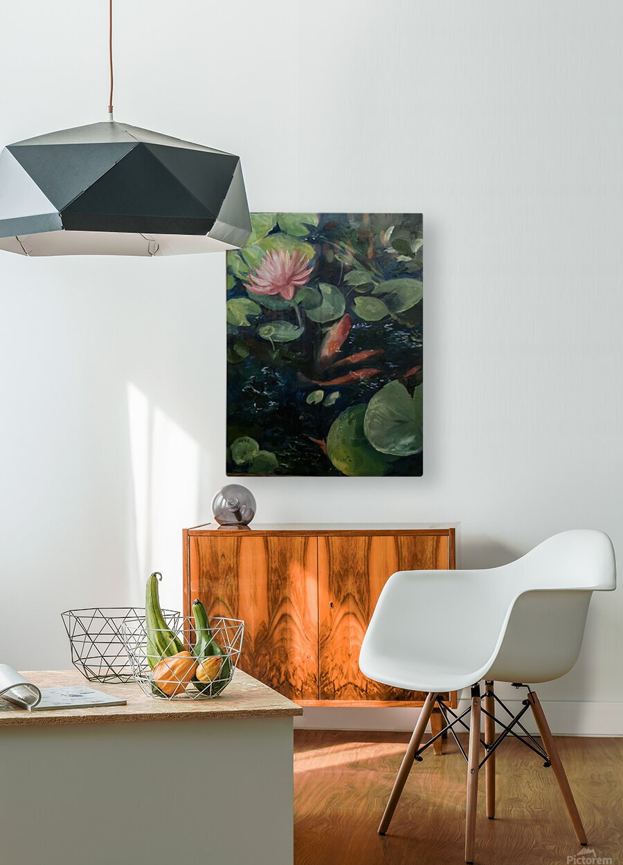 Koi with water lily   HD Metal print with Floating Frame on Back