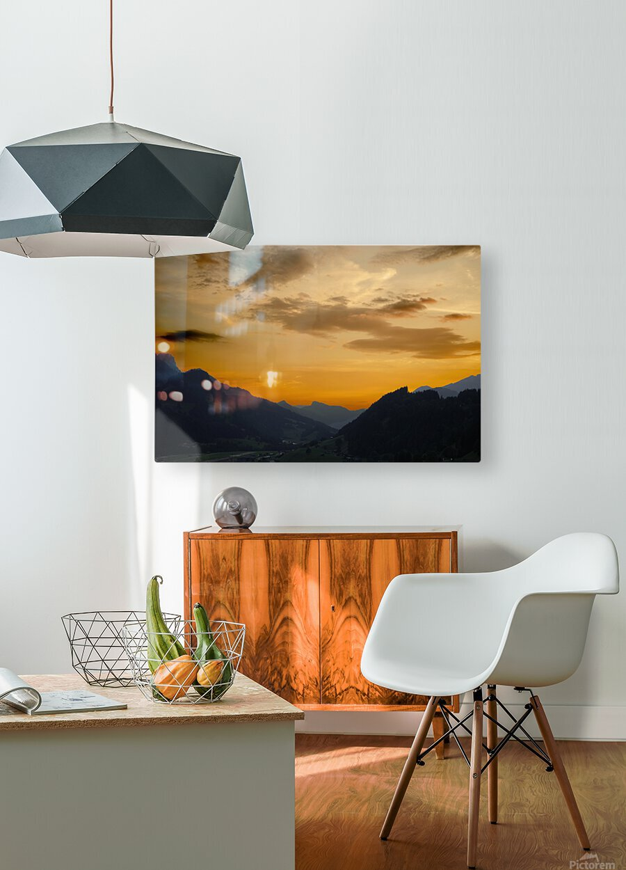 Sunset in the Saanen Valley in Switzerland  HD Metal print with Floating Frame on Back