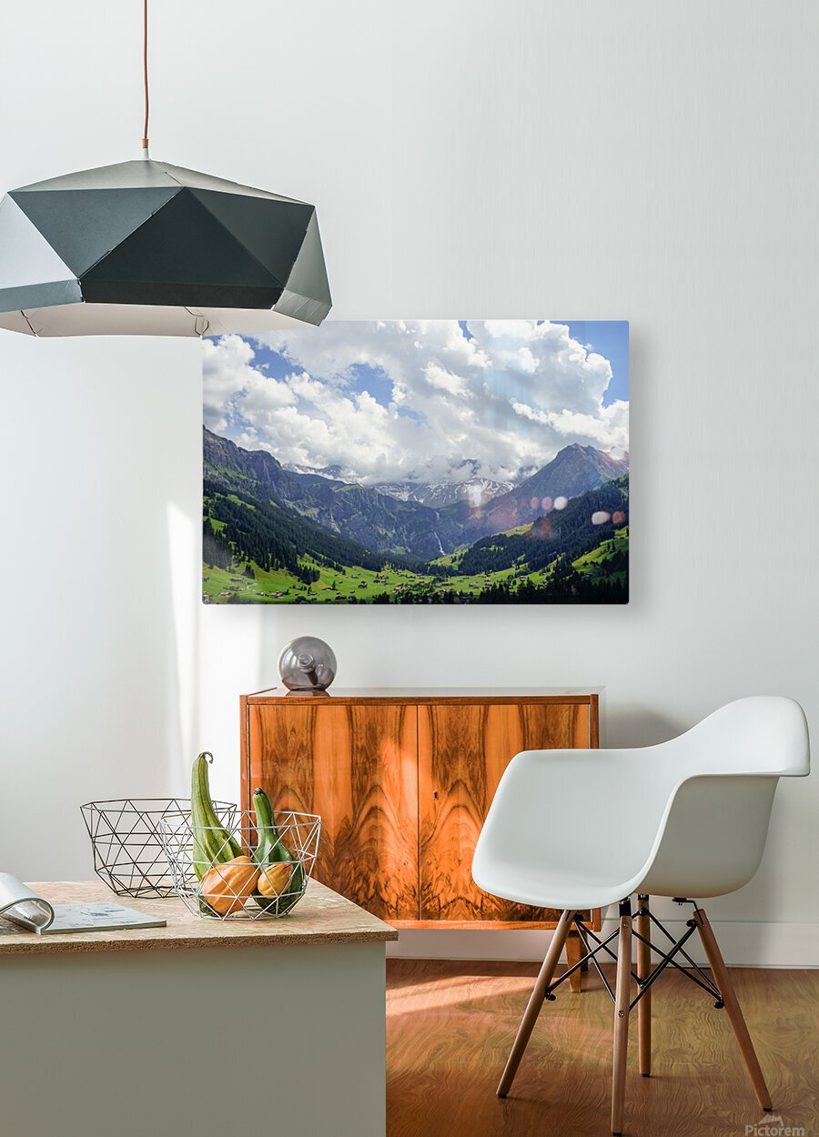 Beautiful Day in the Valley and Mountains of Adelboden Switzerland  HD Metal print with Floating Frame on Back