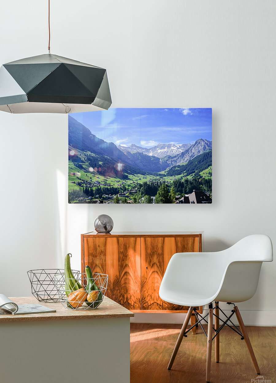 Blue Skies over the Alps in Adelboden Switzerland  HD Metal print with Floating Frame on Back