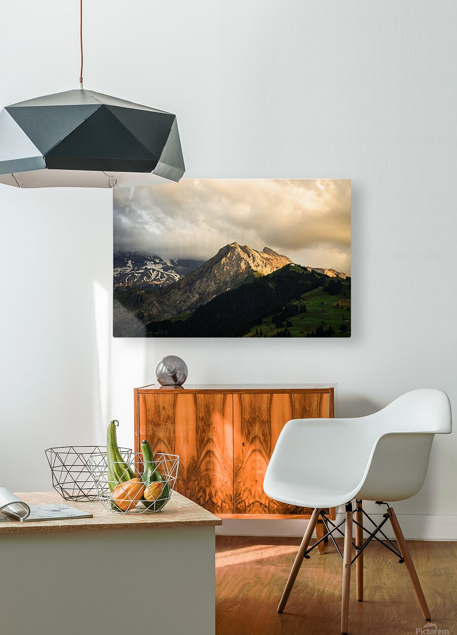 Mountain Bathed in the Golden Rays of the Sun at Sunset in Switzerland 1 of 3  HD Metal print with Floating Frame on Back