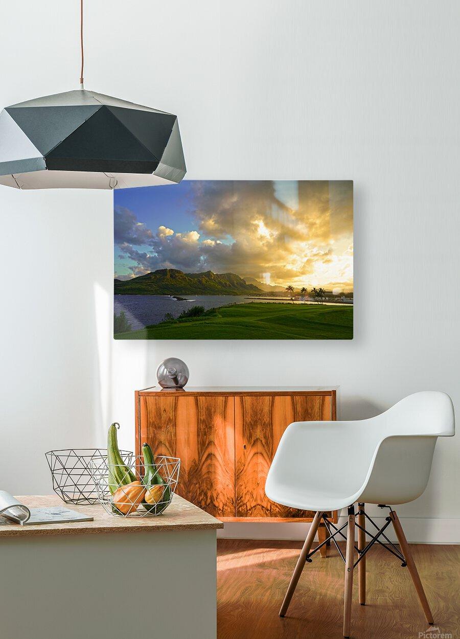 Sunset Nawiliwili Bay Kauai Hawaii  HD Metal print with Floating Frame on Back