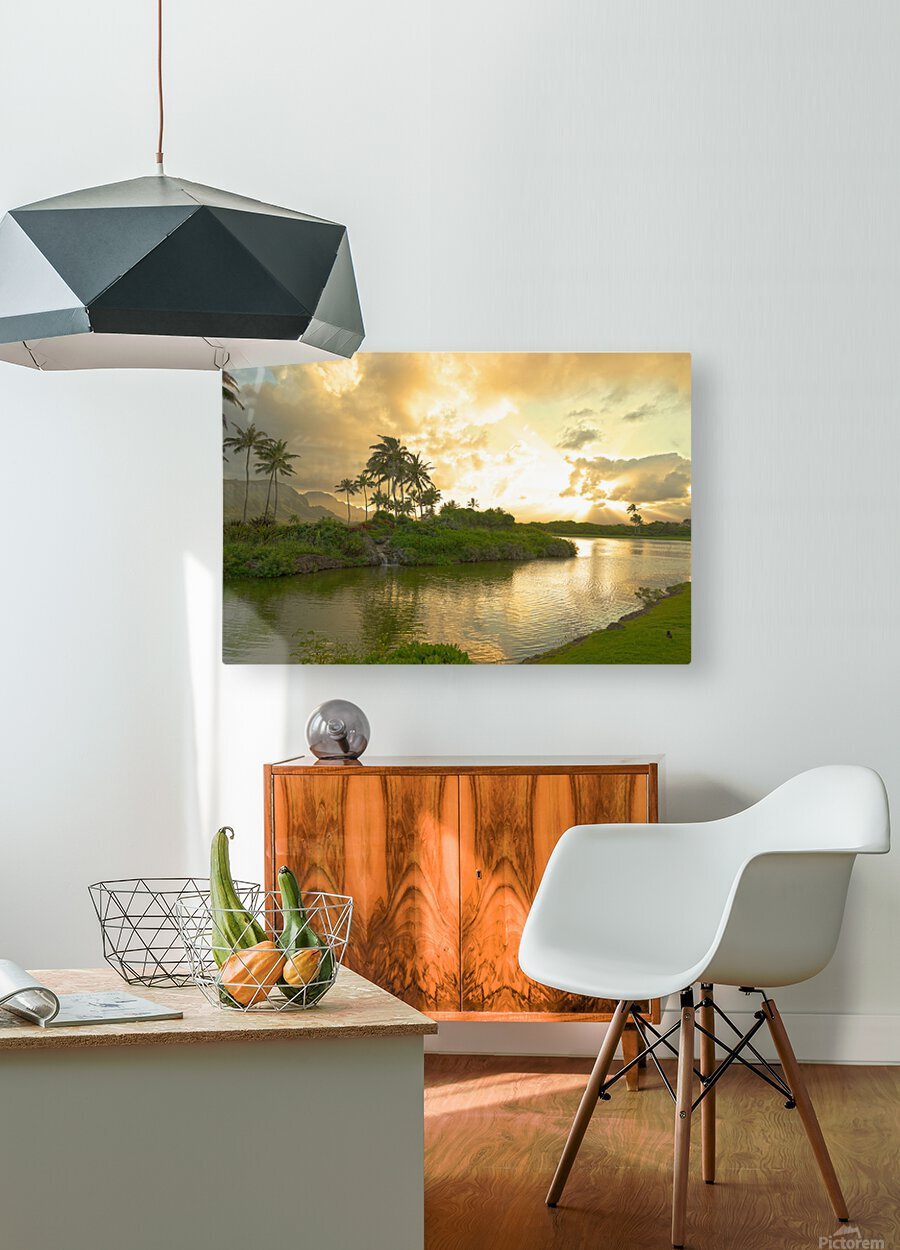 Shadows and Light as the Sun Sets in Kauai 1 of 2  HD Metal print with Floating Frame on Back