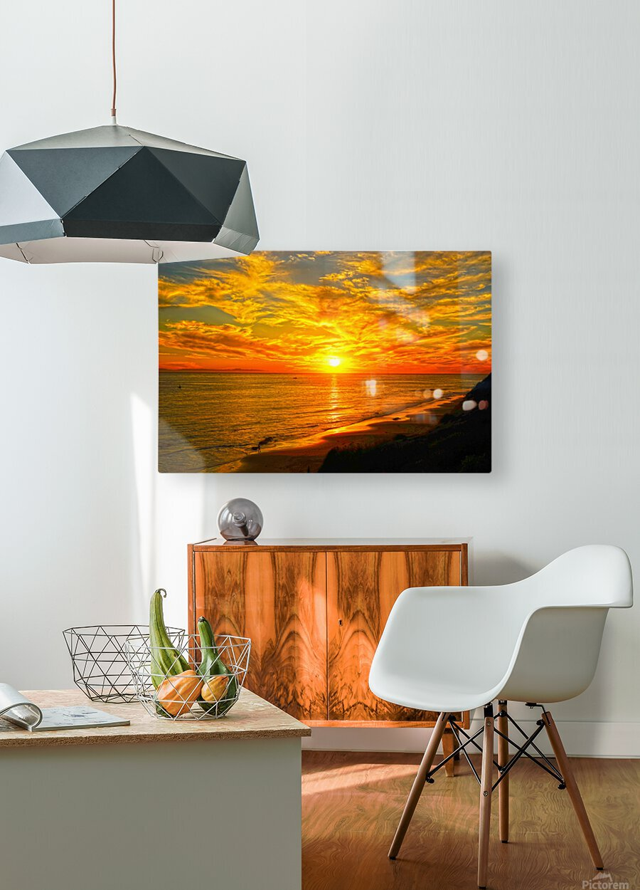 Sunset over Catalina Island in Newport Beach California  HD Metal print with Floating Frame on Back