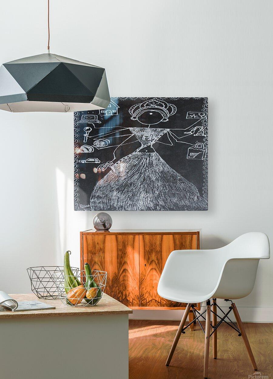 Warli Art Depicting multitask  HD Metal print with Floating Frame on Back