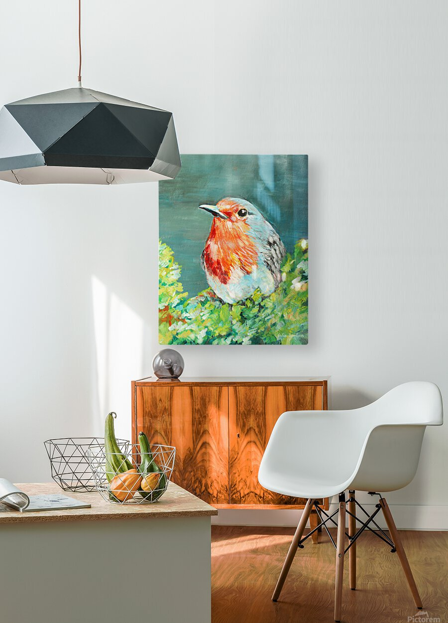 Bird Painting Robin  HD Metal print with Floating Frame on Back