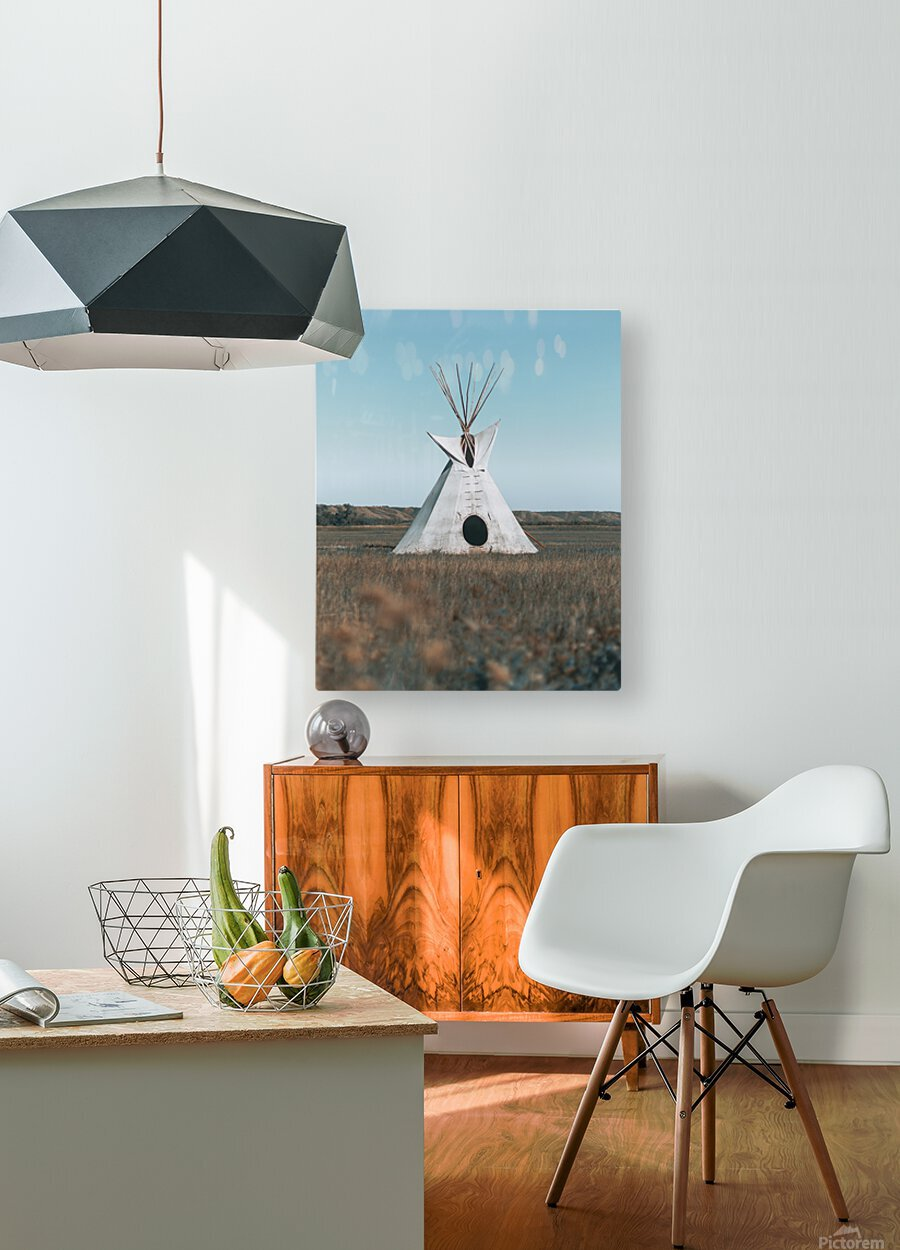 Cree Tipi  HD Metal print with Floating Frame on Back