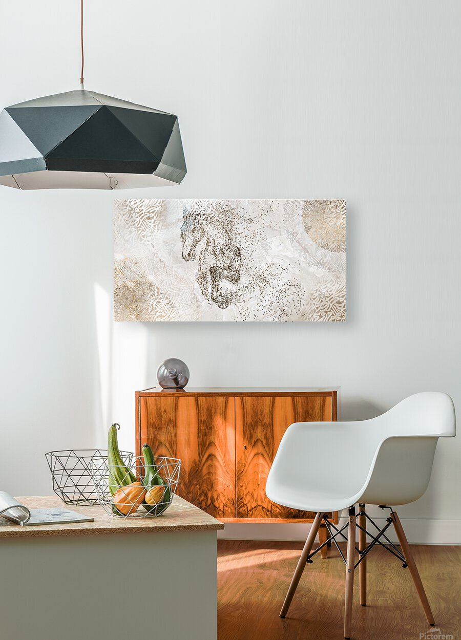 calligraphy horse   HD Metal print with Floating Frame on Back