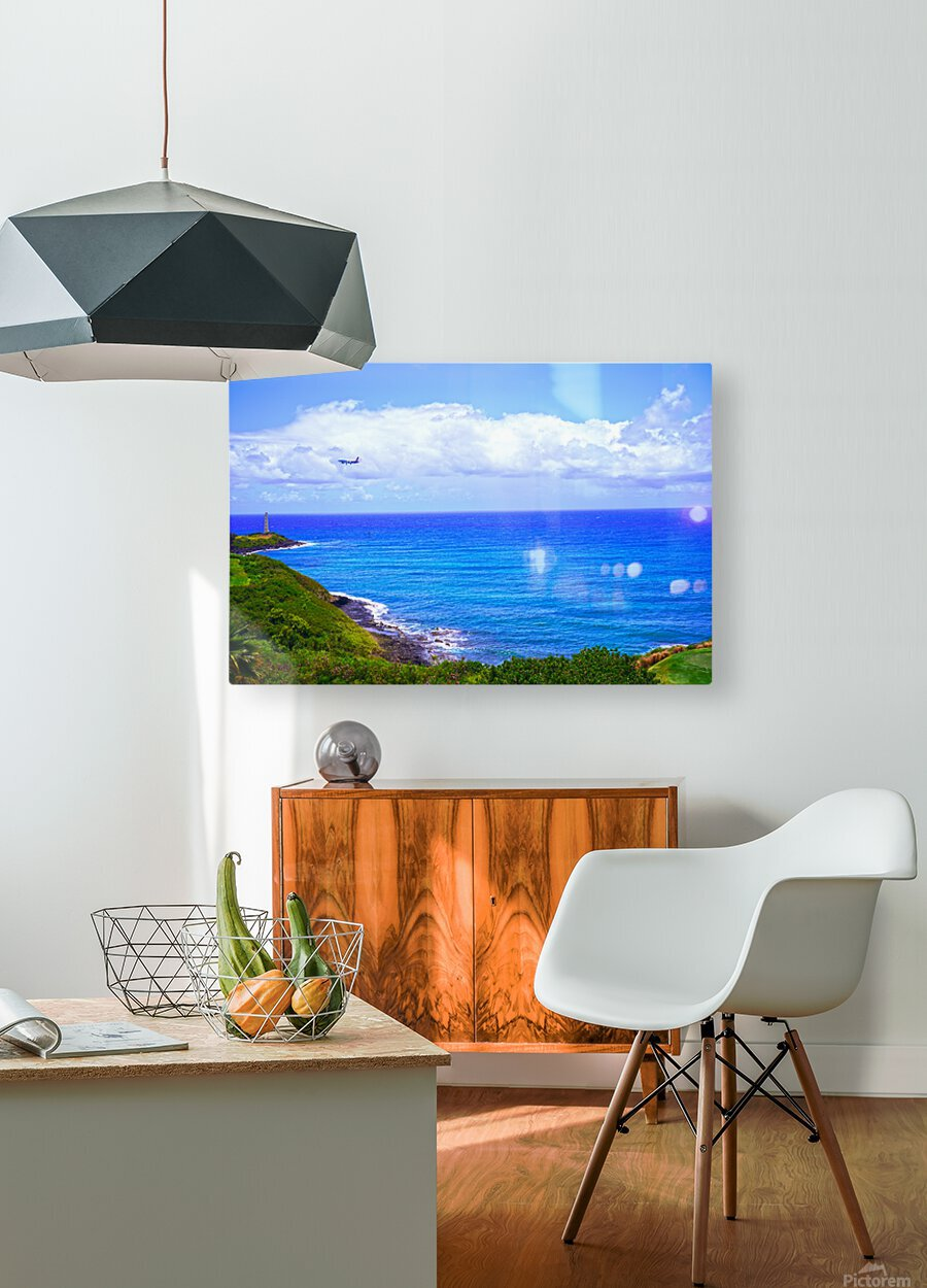 Hawaiian Airlines Flight Landing at Lihue Airport on the Island of Kauai  HD Metal print with Floating Frame on Back