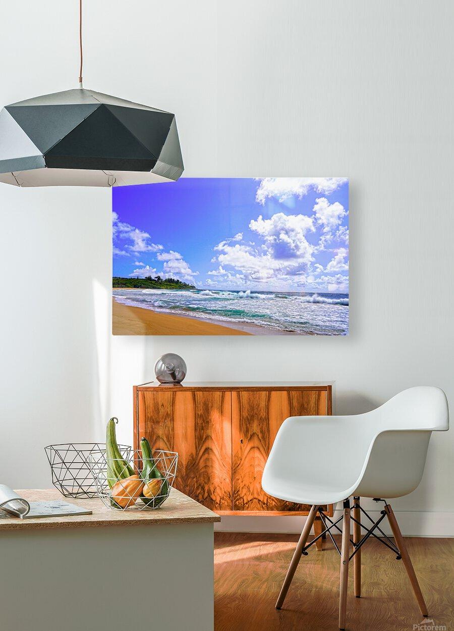 Wild Day at Wailua Beach on the Island of Kauai  HD Metal print with Floating Frame on Back