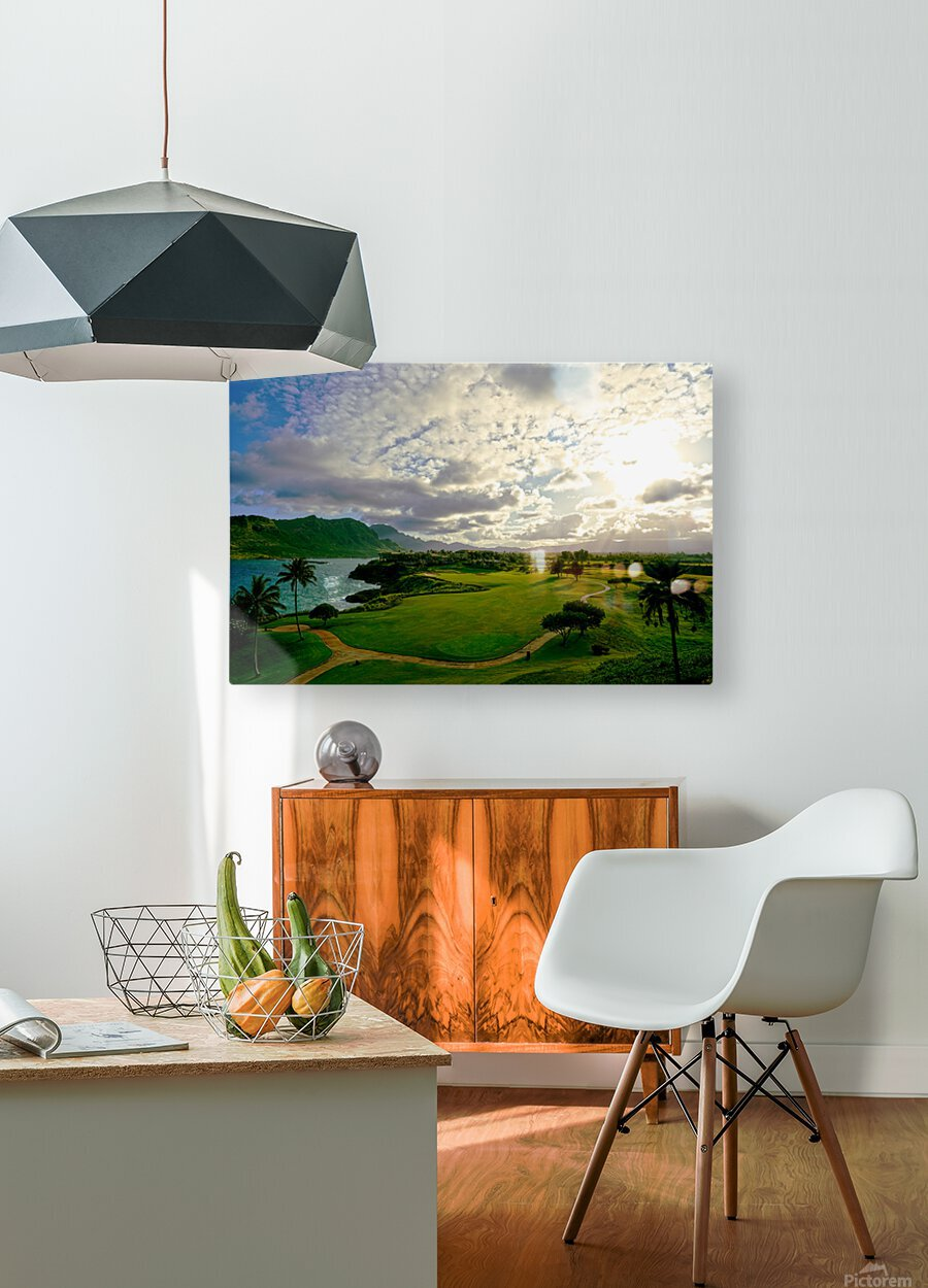Sunset over Kukii Point on the Island of Kauai in Hawaii  HD Metal print with Floating Frame on Back