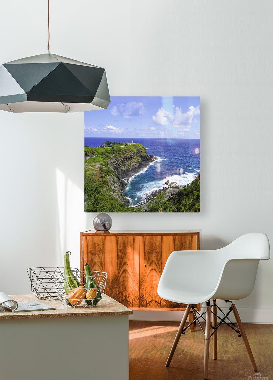 Kilauea Lighthouse on the Island of Kauai Square  HD Metal print with Floating Frame on Back