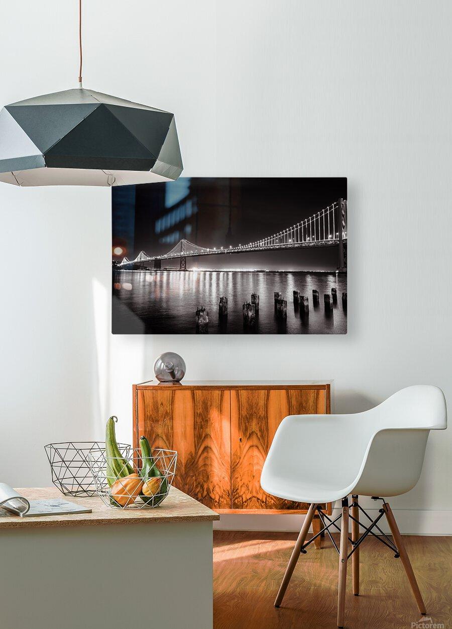 Bay Bridge Black & White  HD Metal print with Floating Frame on Back