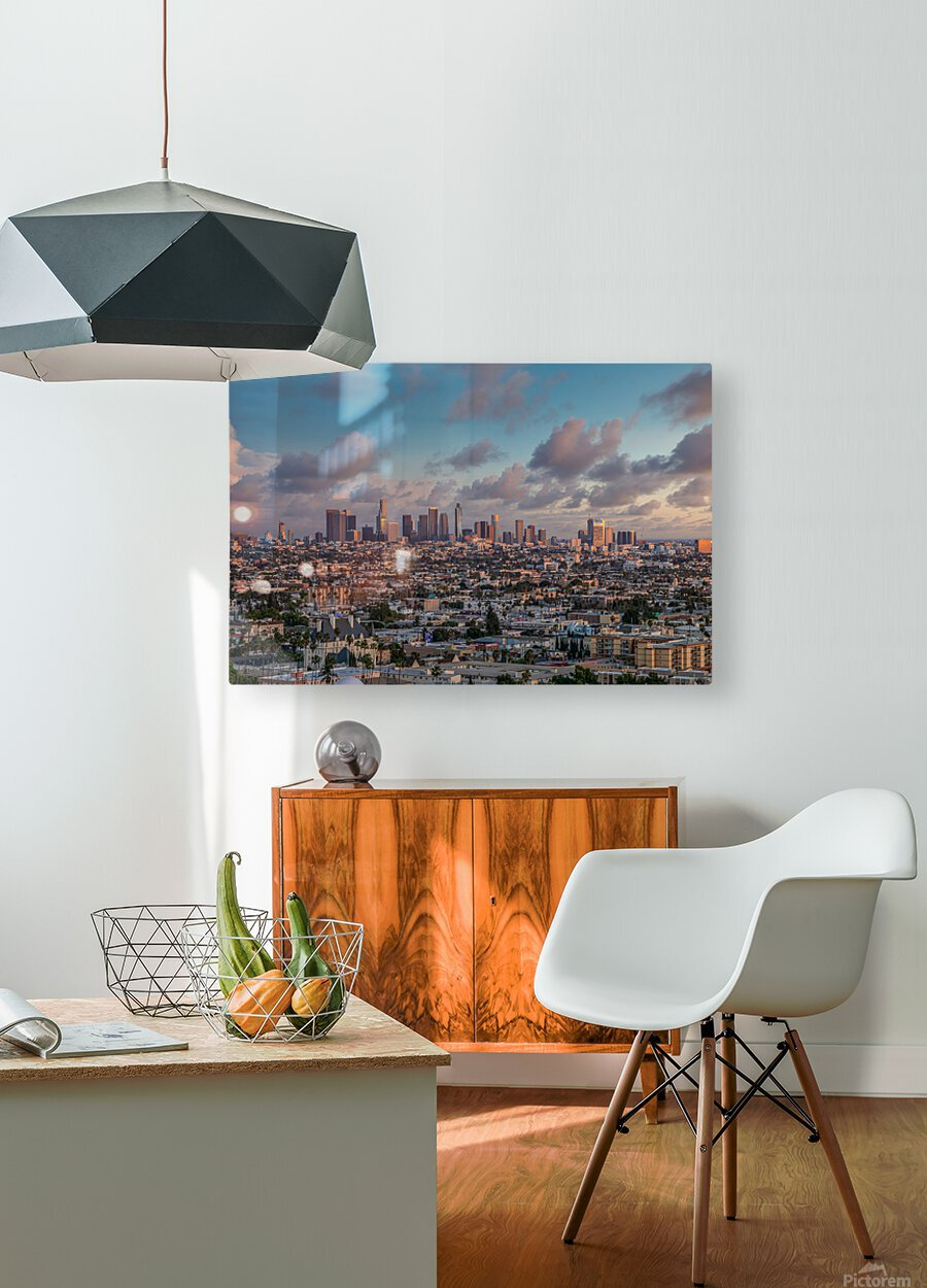 LA Twilight  HD Metal print with Floating Frame on Back