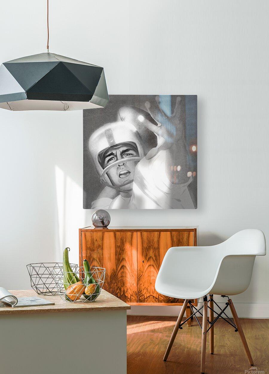 1960 Lon Keller Quarterback Remix Art  HD Metal print with Floating Frame on Back