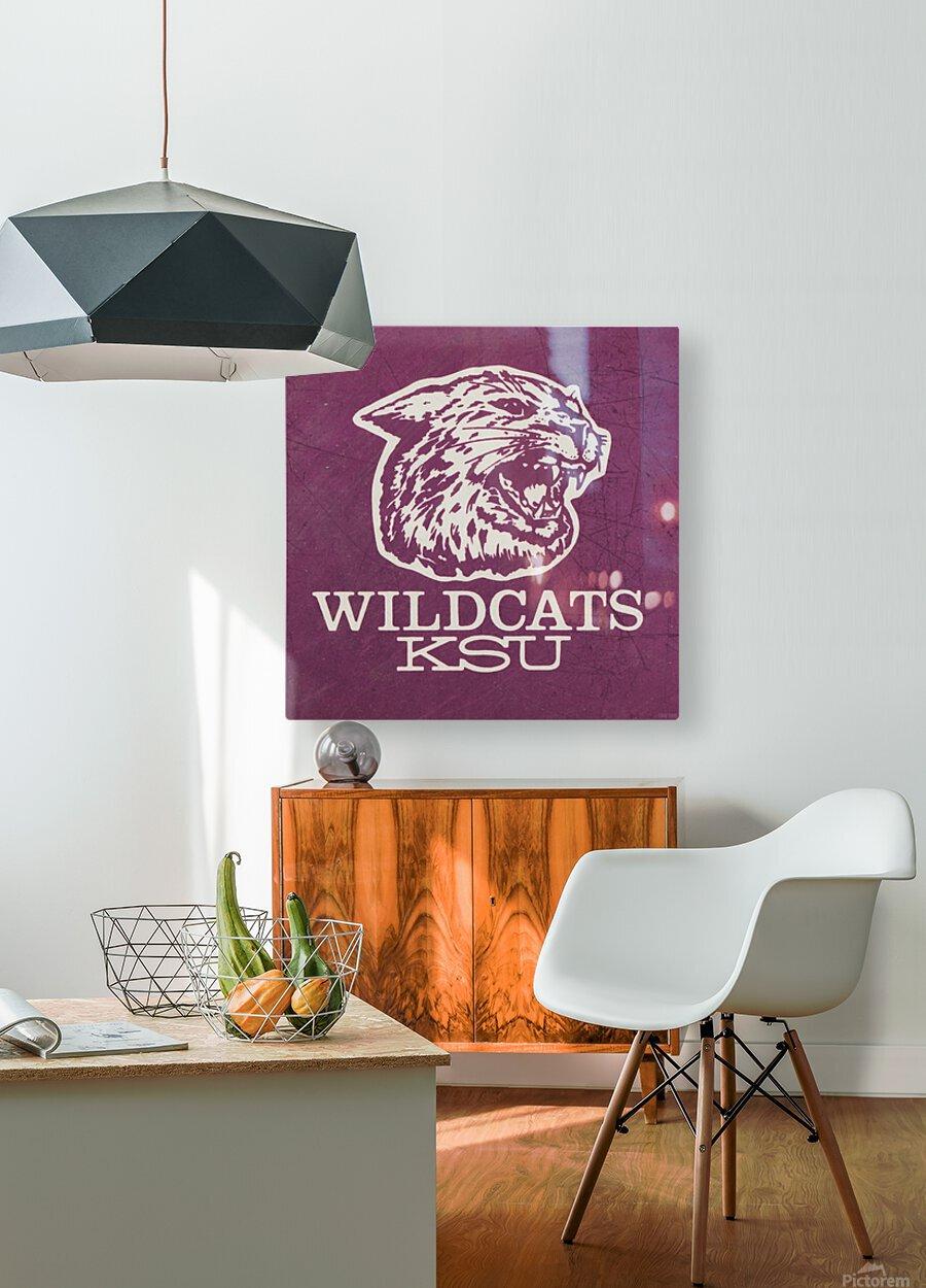 Retro Eighties KSU Wildcats Art  HD Metal print with Floating Frame on Back