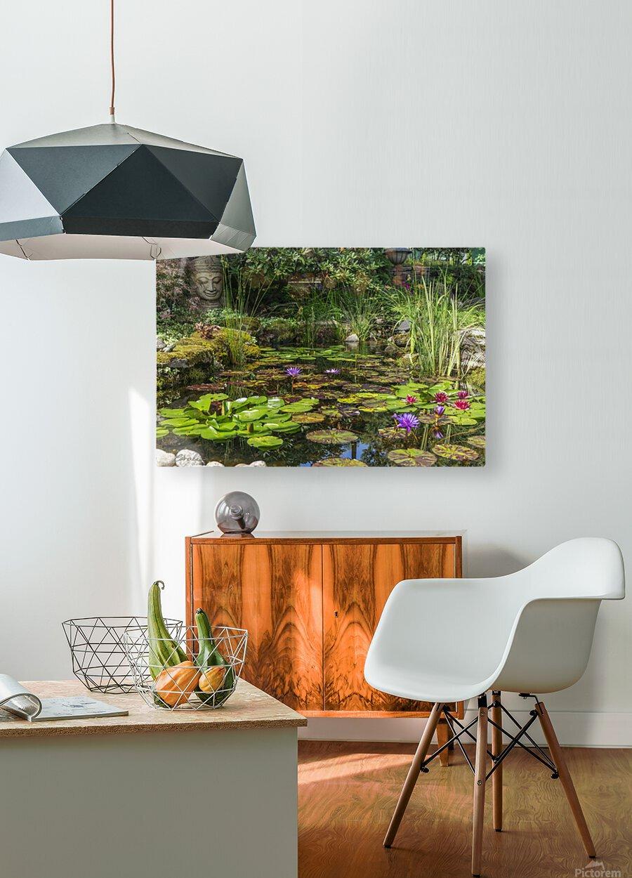 Divin Jardin d   eau   Divine Water Garden  Impression métal HD avec cadre flottant sur le dos