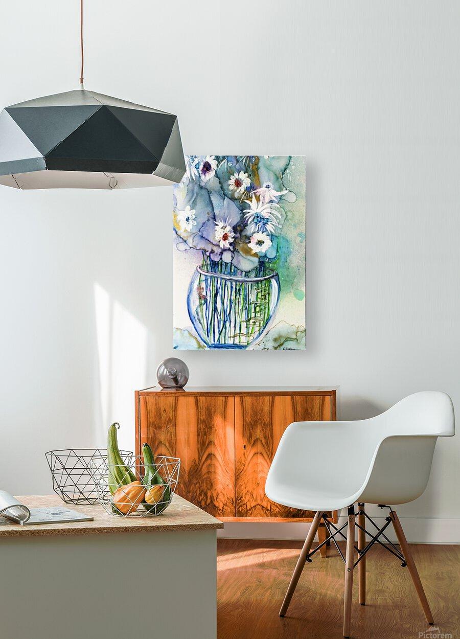 Blue Floral  Impression métal HD avec cadre flottant sur le dos