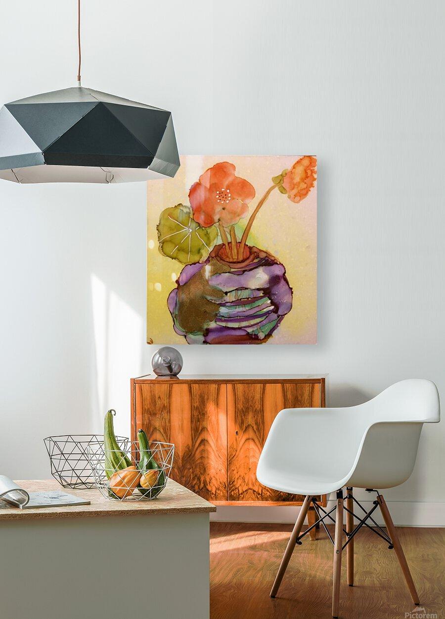 Orange Nasturiums  Impression métal HD avec cadre flottant sur le dos