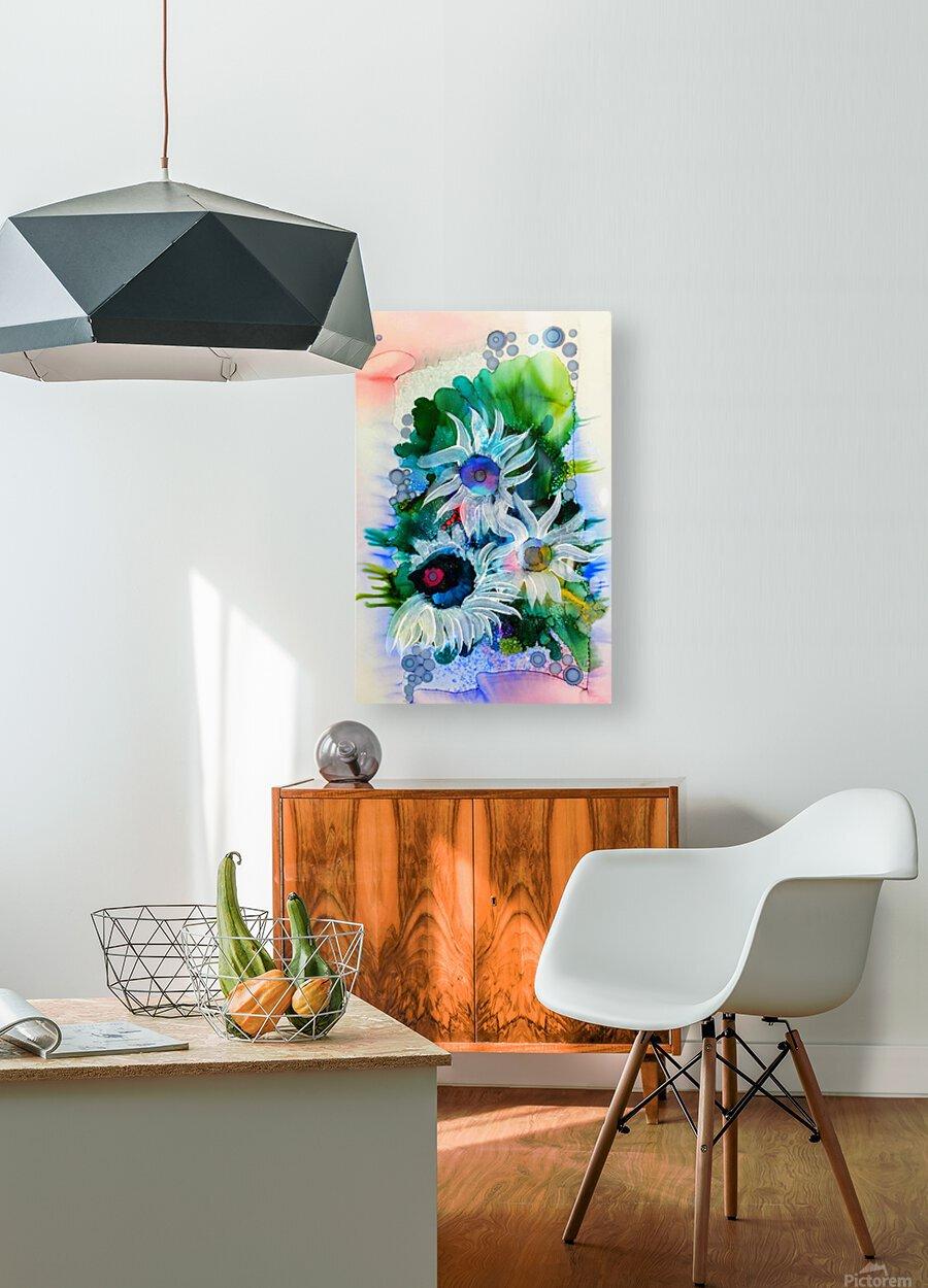 Floral Burst  Impression métal HD avec cadre flottant sur le dos
