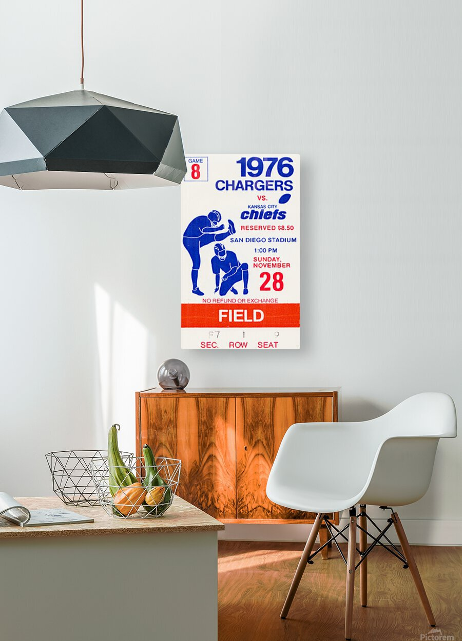 1976 San Diego Chargers vs. Kansas City Chiefs  HD Metal print with Floating Frame on Back