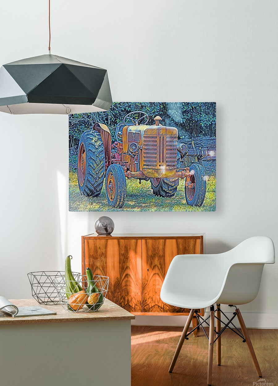 Tractor  HD Metal print with Floating Frame on Back