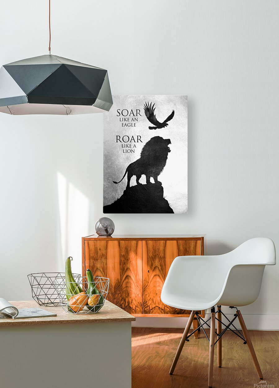 lion and eagle Motivational Wall Art  HD Metal print with Floating Frame on Back