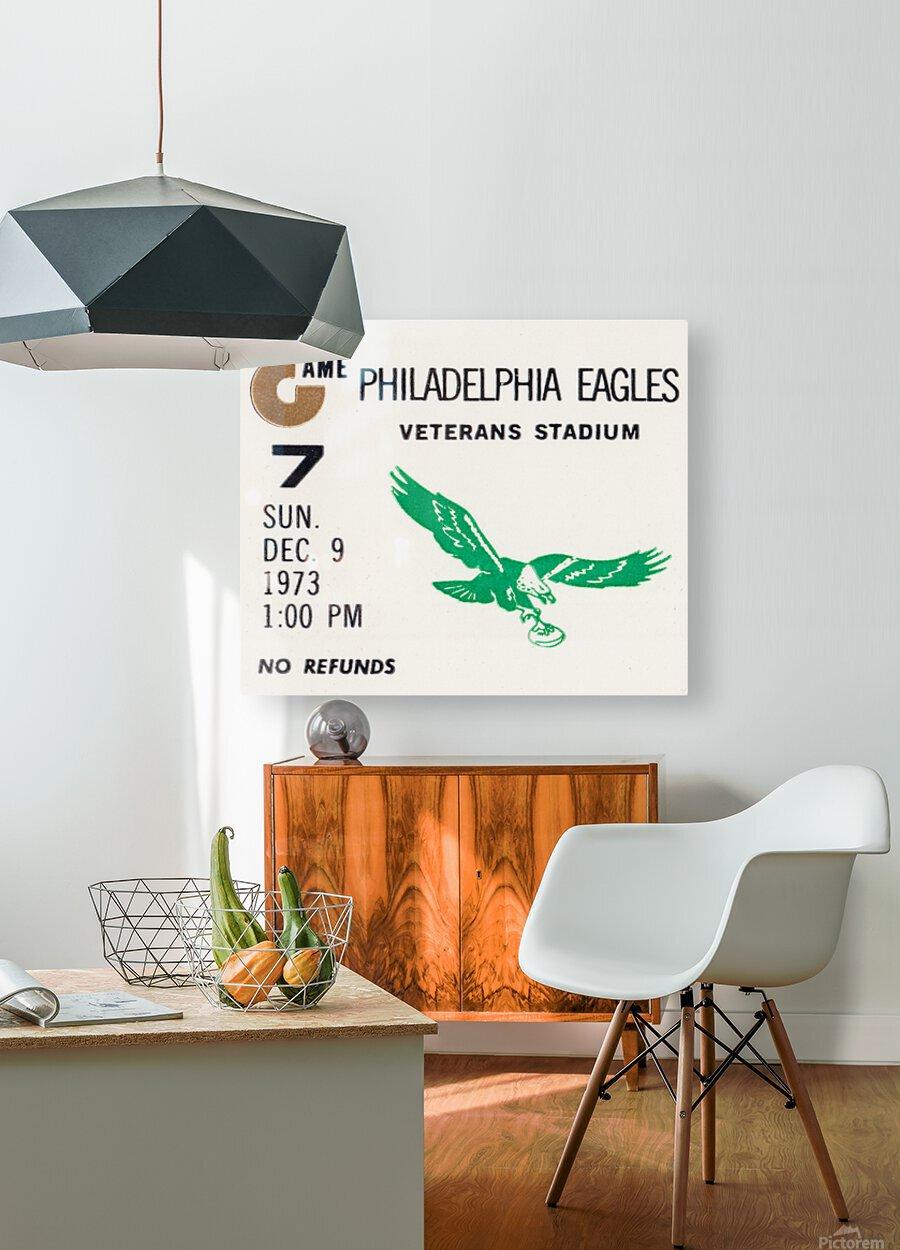 1973 Philadelphia Eagles Ticket Stub Remix Art  HD Metal print with Floating Frame on Back