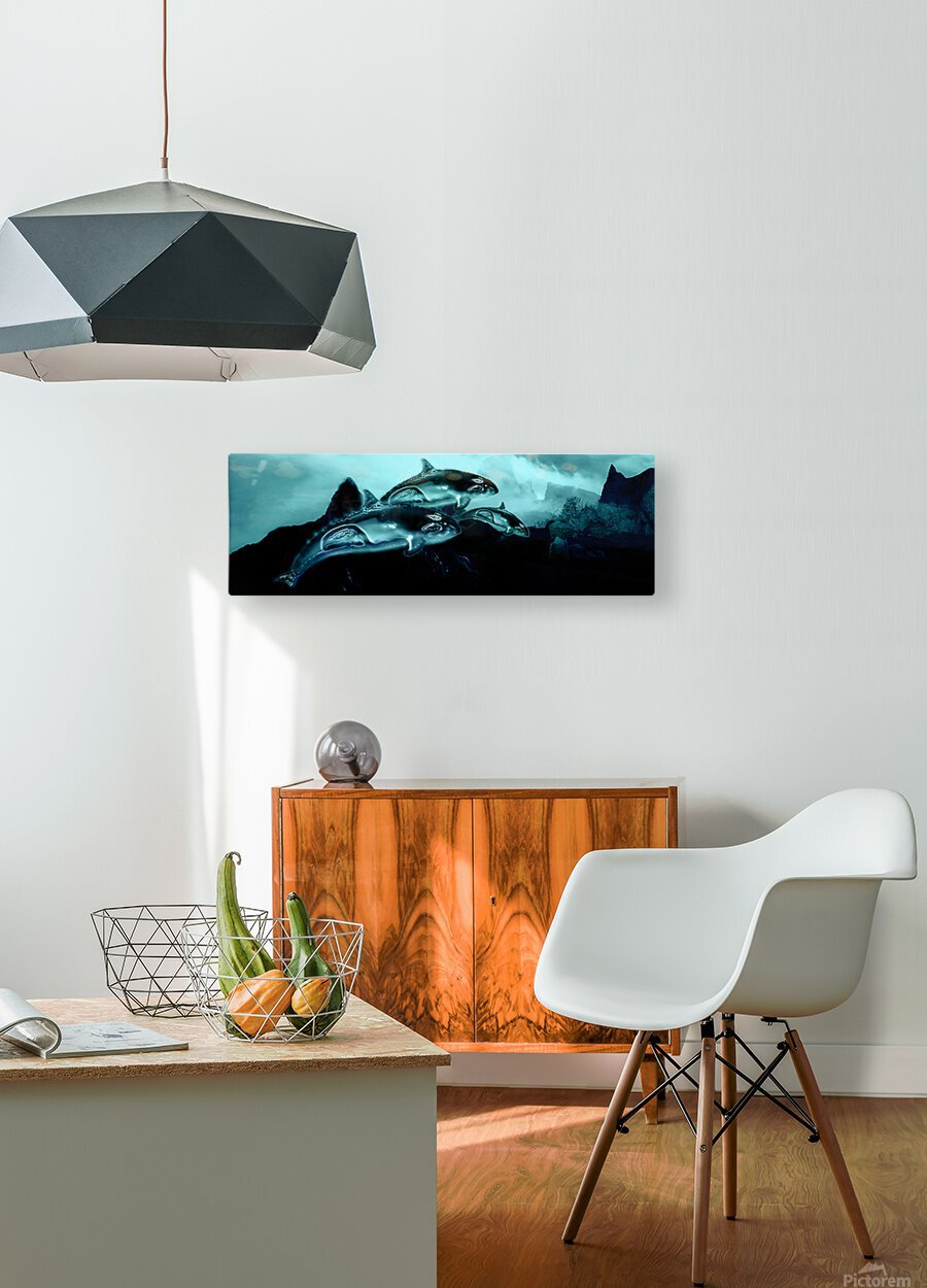 ORCAS LUNARES WIDE 3  HD Metal print with Floating Frame on Back