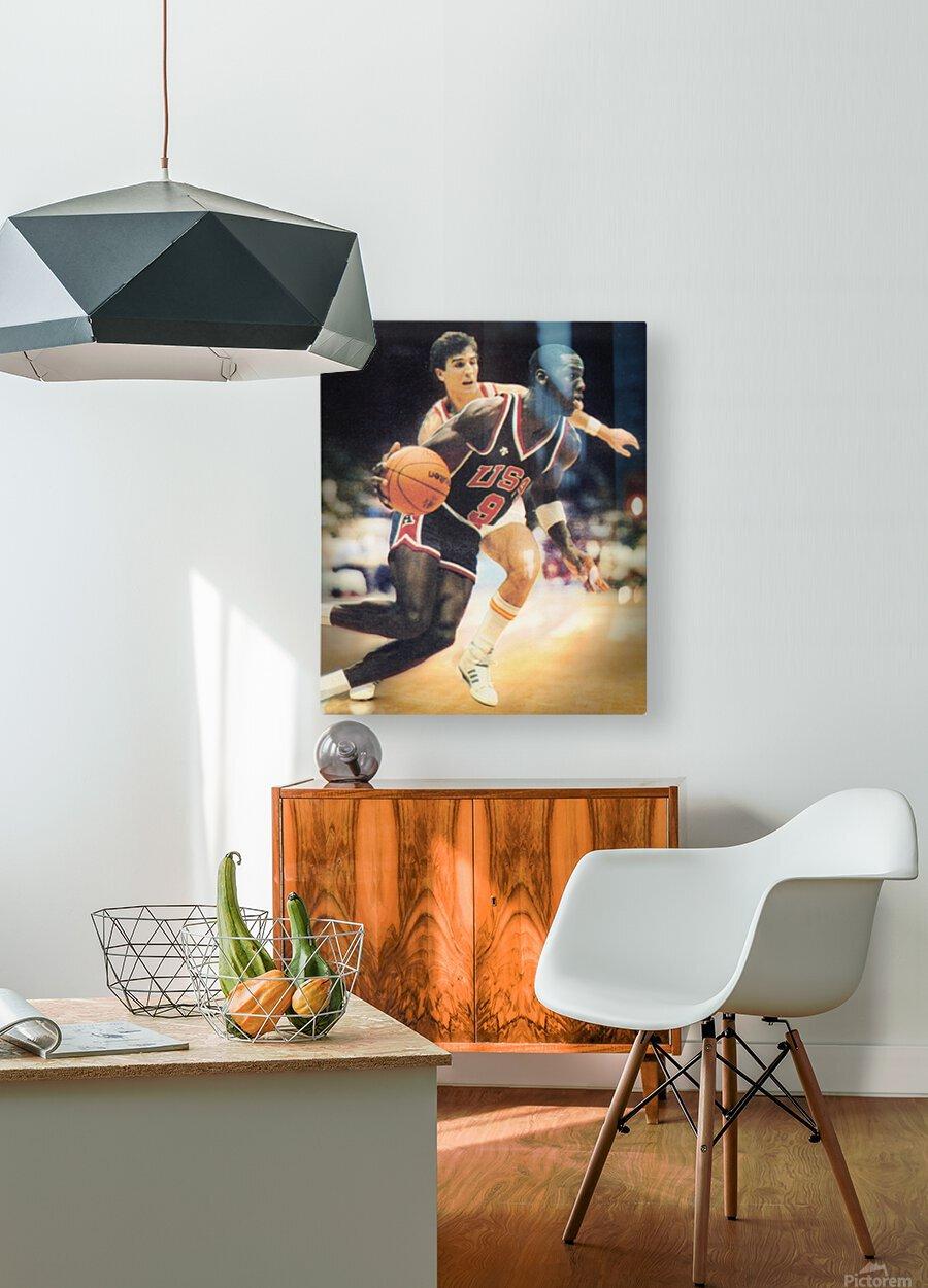 1984 Michael Jordan USA Basketball Art  HD Metal print with Floating Frame on Back