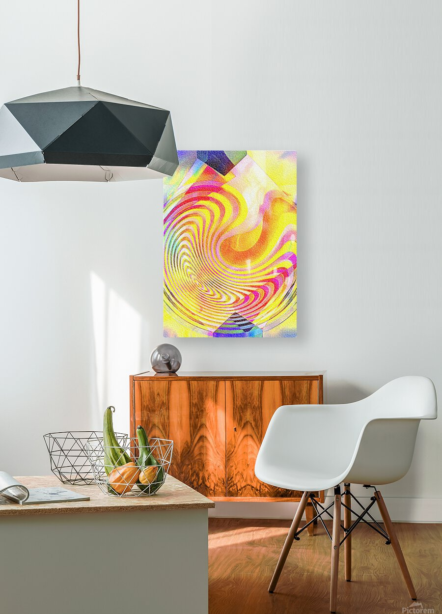 Multicolored Experimental Headache 21  HD Metal print with Floating Frame on Back